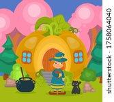halloween pumpkin house with... | Shutterstock .eps vector #1758064040