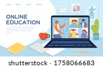 online education with laptop ...   Shutterstock .eps vector #1758066683