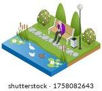 isometric old man  senior... | Shutterstock .eps vector #1758082643