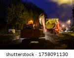 Orange Excavator Digger Working ...