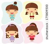 little girl cartoon  cute... | Shutterstock .eps vector #175809500