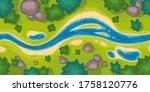 Flowing River Top View. Vector...
