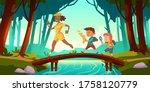 hikers walk over bridge... | Shutterstock .eps vector #1758120779