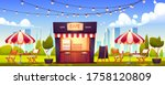 outdoor cafe  summer booth in... | Shutterstock .eps vector #1758120809