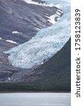 Norway nature - glacier landscape. Svartisen Glacier. Rainy weather. - stock photo