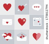 valentine set of flat icons for ... | Shutterstock .eps vector #175812794
