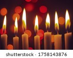Candle Lights In Darkness With...