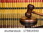 Justice Gavel With Blurred Law...