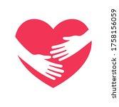 hug the heart. hands embracing... | Shutterstock .eps vector #1758156059