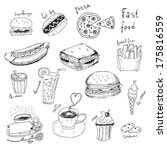 fast food doodles | Shutterstock .eps vector #175816559