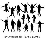 jumping girl silhouettes | Shutterstock .eps vector #175816958