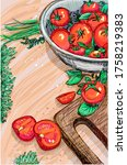 ripe tomatoes on an old wooden...   Shutterstock . vector #1758219383