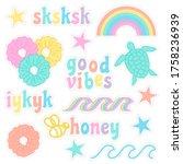 vsco girl sticker pack. vsco... | Shutterstock .eps vector #1758236939