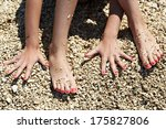manicure on hands and feet on... | Shutterstock . vector #175827806