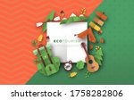 eco tourism frame template with ... | Shutterstock .eps vector #1758282806