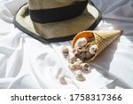 Summer Straw Hat And Waffle...