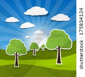 landscape illustration  trees... | Shutterstock . vector #175834124