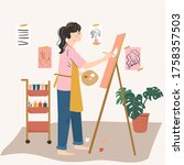 woman artist painting on easel. ... | Shutterstock .eps vector #1758357503