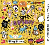doodle birthday party... | Shutterstock .eps vector #1758379199