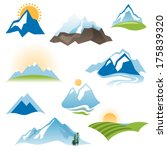 9 stylized landscape icons over ...   Shutterstock .eps vector #175839320