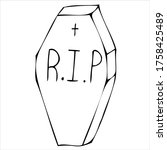scary  creepy grave in a... | Shutterstock .eps vector #1758425489