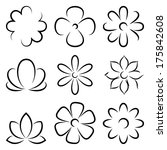 vector flowers  silhouettes | Shutterstock .eps vector #175842608