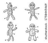 set of hand drawn voodoo dolls. ...