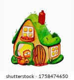 illustration  forest house. a... | Shutterstock . vector #1758474650