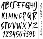 hand drawn font made by dry... | Shutterstock .eps vector #1758493466