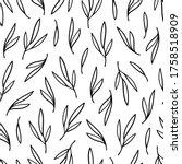 black contour leaves seamless... | Shutterstock .eps vector #1758518909