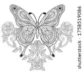 butterfly with rose. zentangle...   Shutterstock .eps vector #1758519086