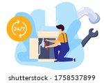 repair worker plumber with...   Shutterstock .eps vector #1758537899