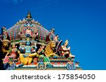 Detail of the Sri Mariamman temple in Singapore - stock photo