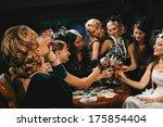 beautiful women in evening... | Shutterstock . vector #175854404