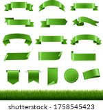 green labels and ribbon set...   Shutterstock .eps vector #1758545423