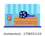 dead woman coffin and photo... | Shutterstock .eps vector #1758551123