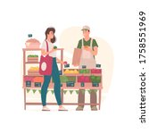 woman buying groceries from man ... | Shutterstock .eps vector #1758551969