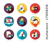 Set of modern flat design icons on design development theme. Icons for graphic design, web design, branding, packaging design, freelance designers, photography and creative design process