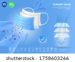 set of three layer surgical... | Shutterstock .eps vector #1758603266