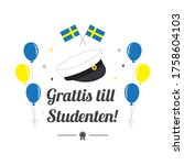 graduation cap with balloon and ... | Shutterstock .eps vector #1758604103