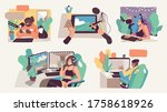 online streaming concept... | Shutterstock .eps vector #1758618926
