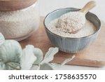Psyllium husk in wooden spoon...