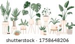 plant lady green house. set of... | Shutterstock .eps vector #1758648206