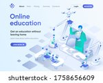 online education isometric...