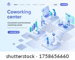 coworking center isometric...