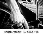 close up of male hand on wheel... | Shutterstock . vector #175866746