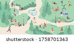 spring park zone with people.... | Shutterstock .eps vector #1758701363