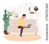 work at home concept design.... | Shutterstock .eps vector #1758701369