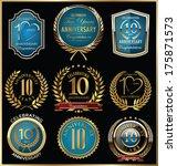 anniversary labels and laurel... | Shutterstock .eps vector #175871573