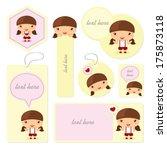 template a little girl with... | Shutterstock .eps vector #175873118